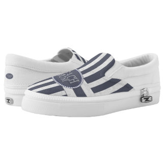 Coastal Nautical Stripes with Beach Bum Theme Slip On Shoes