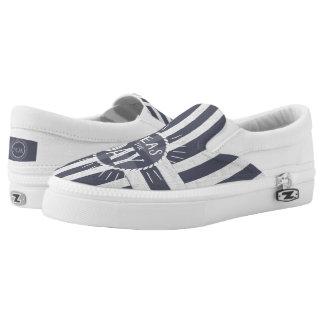 Coastal Nautical Stripes with Seize the Day Slip On Shoes