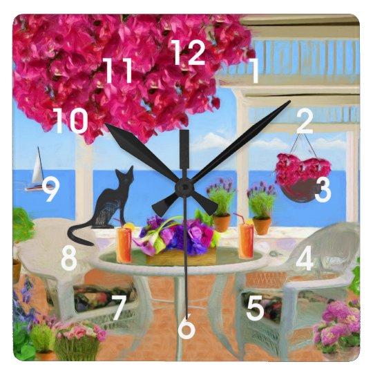 Coastal Ocean Veranda Scene Square Wall Clock