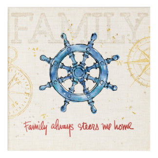 Coastal Quote | Family Always Steers me Home Acrylic Wall Art