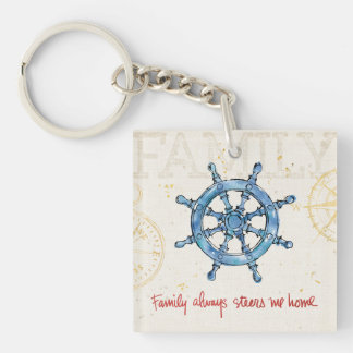 Coastal Quote | Family Always Steers me Home Double-Sided Square Acrylic Key Ring