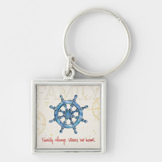 Coastal Quote | Family Always Steers me Home Silver-Colored Square Key Ring