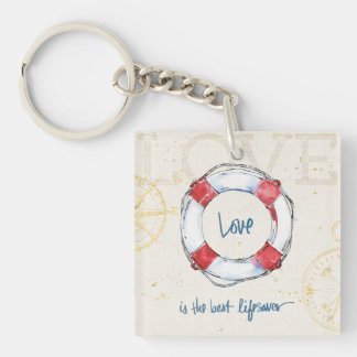 Coastal Quote | Love is the best lifesaver Double-Sided Square Acrylic Key Ring