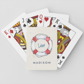 Coastal Quote   Love is the best lifesaver Playing Cards
