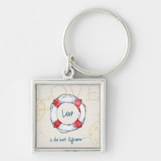 Coastal Quote | Love is the best lifesaver Silver-Colored Square Key Ring