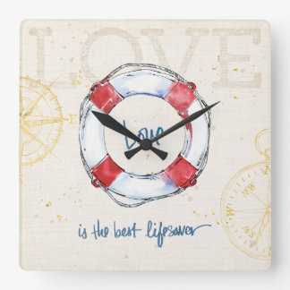 Coastal Quote   Love is the best lifesaver Square Wall Clock