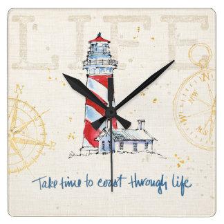 Coastal Quote   Take Time To Coast Through Life Square Wall Clock