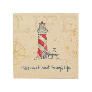 Coastal Quote | Take Time To Coast Through Life Wood Print