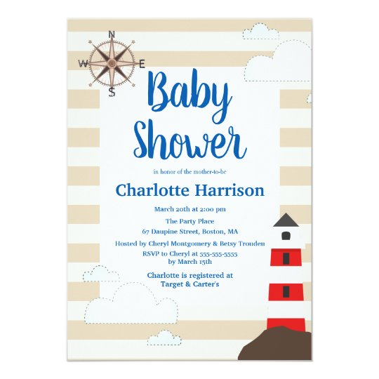 Coastal Red Striped Lighthouse Baby Shower Card