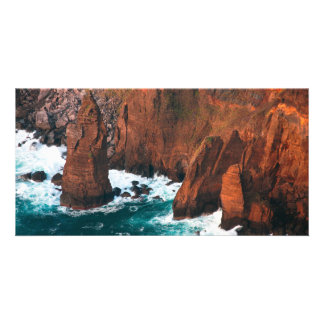 Coastal rock formations personalized photo card