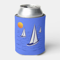 Coastal Sailing Yachts at Sunset Can Coolers