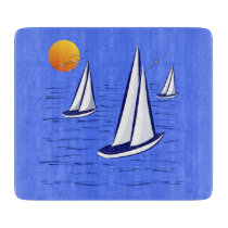 Coastal Sailing Yachts at Sunset Chopping Board