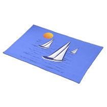 Coastal Sailing Yachts at Sunset Cotton Placemat