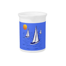 Coastal Sailing Yachts at Sunset Drinks Pitcher