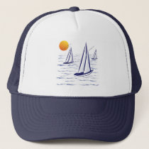 Coastal Sailing Yachts at Sunset Hats