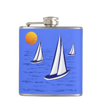 Coastal Sailing Yachts at Sunset Hip Flask