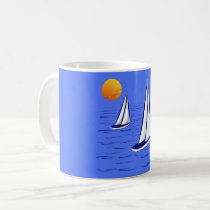 Coastal Sailing Yachts at Sunset Mugs Travel Mugs