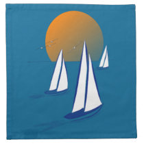 Coastal Sailing Yachts at Sunset Napkin