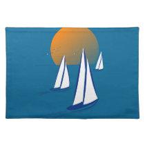 Coastal Sailing Yachts at Sunset Place Mats