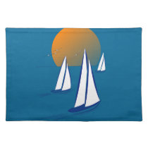 Coastal Sailing Yachts at Sunset Placemat