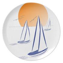 Coastal Sailing Yachts at Sunset Plates