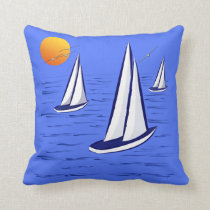 Coastal Sailing Yachts at Sunset Polyester Cushion