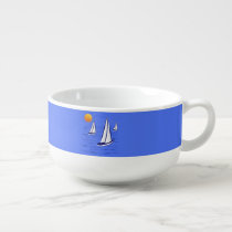 Coastal Sailing Yachts at Sunset Soup Mugs