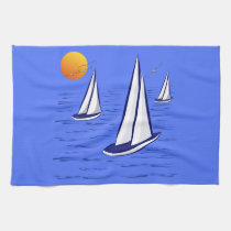 Coastal Sailing Yachts at Sunset Tea Towels