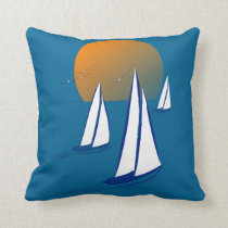 Coastal Sailing Yachts at Sunset Throw Pillow