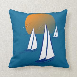 Coastal Sailing Yachts at Sunset Throw Pillow