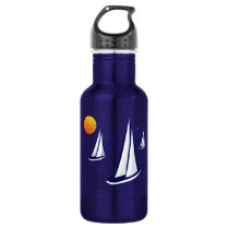 Coastal Sailing Yachts at Sunset Water Bottles