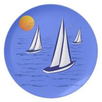 Coastal Sailing Yachts Melamine Dinner Plate