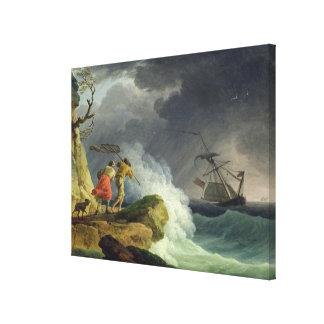 Coastal Scene in a Storm, 1782 Canvas Print