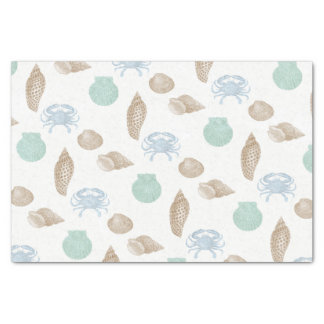 Coastal Seashells Pattern Tissue Paper
