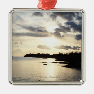Coastal Silhouette in County Kerry, Ireland Silver-Colored Square Decoration