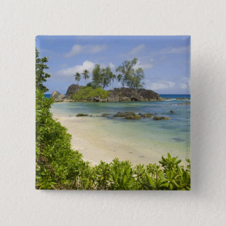 Coastal view on Mahe Island 15 Cm Square Badge