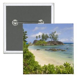 Coastal view on Mahe Island 15 Cm Square Badge