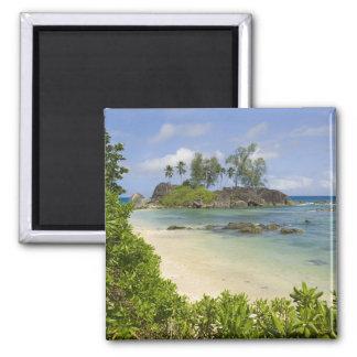 Coastal view on Mahe Island Square Magnet
