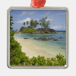 Coastal view on Mahe Island Silver-Colored Square Decoration