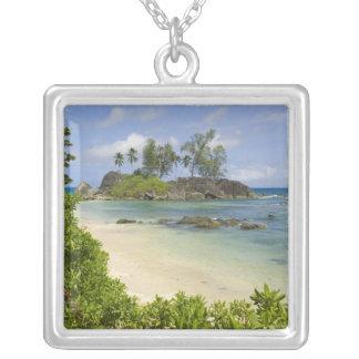 Coastal view on Mahe Island Square Pendant Necklace