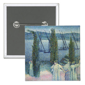 Coastal View with Cypress Trees, 1896 15 Cm Square Badge