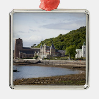 Coastal view with historic buildings, Oban, Silver-Colored Square Decoration