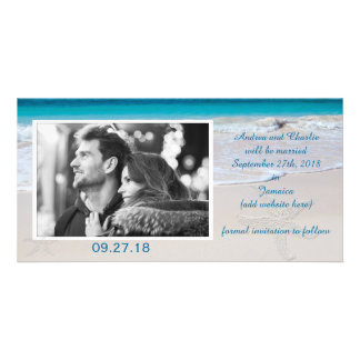 Coastal Vows Wedding Save the Date Customized Photo Card