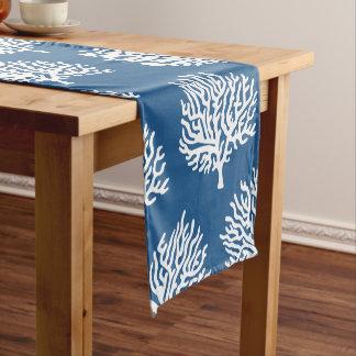 Coastal White Sea Coral & Blue Short Table Runner