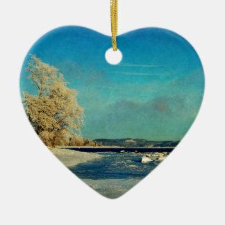 Coastal Winter Scene Ceramic Heart Decoration
