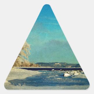 Coastal Winter Scene Triangle Sticker