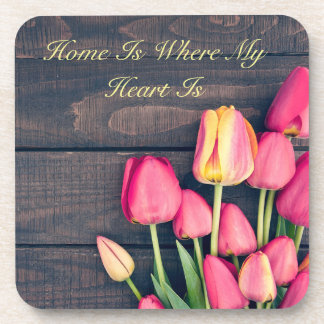 Coaster--Dark Pink Tulips & Wood Beverage Coaster