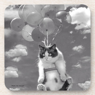 Coaster: Funny cat flying with Balloons Coasters