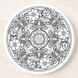 Coaster Mandala Bee Flower Garden