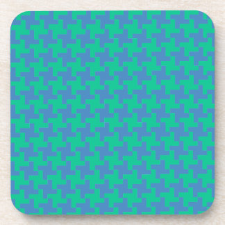 Coaster or Table Mat, Emerald and Blue Dogtooth
